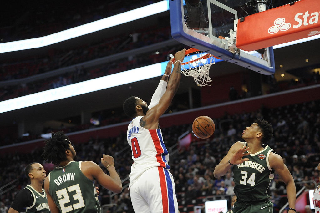 . Detroit Pistons center Andre Drummond (0) dunks against the Milwaukee Bucks in the third quarter of an NBA basketball game, Wednesday, Feb. 28, 2018 at Little Caesars Arena in Detroit.  The Pistons defeated the Bucks, 110-87.  (Special to The Oakland Press/Jose Juarez)