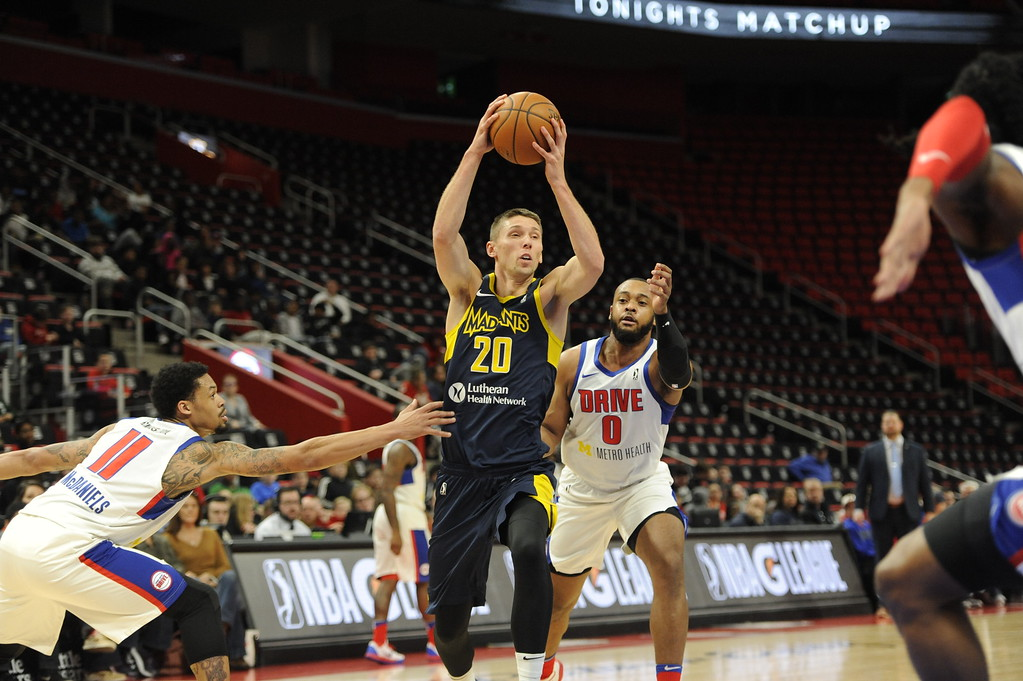 . The Grand Rapids Drive, which is the D-League affiliate for the Detroit Pistons, played the Fort Wayne Mad Ants, the D-League affiliate for the Indiana Pacers, Wednesday, Feb. 28, 2018 in Detroit.  The Mad Ants defeated the Drive, 115-104.  (Special to The Oakland Press/Jose Juarez)