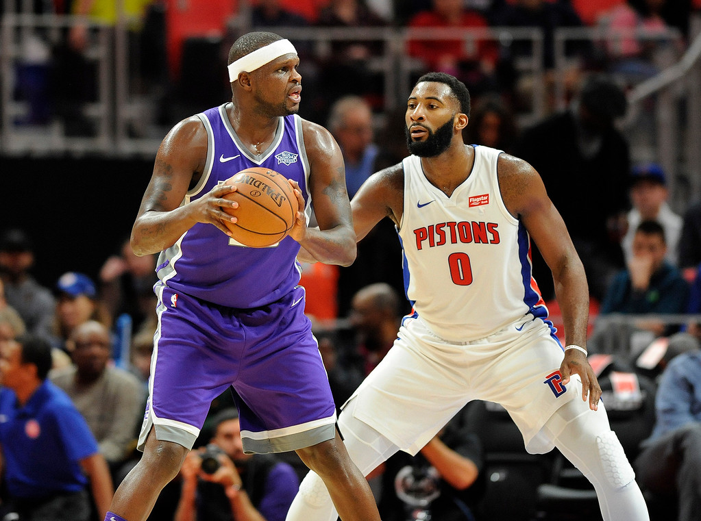 . Sacramento Kings center Zach Randolph (50) looks to pass around Detroit Pistons center Andre Drummond (0) during the first quarter, Saturday, Nov. 4, 2017 in Detroit.  (Special to The Oakland Press/Jose Juarez)