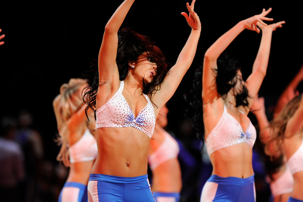. The Detroit Pistons Dance Team performs for the crowd during a timeout against the Sacramento Kings in the third quarter, Saturday, Nov. 4, 2017 in Detroit.  The Pistons defeated the Kings 108-99.  (Special to The Oakland Press/Jose Juarez)