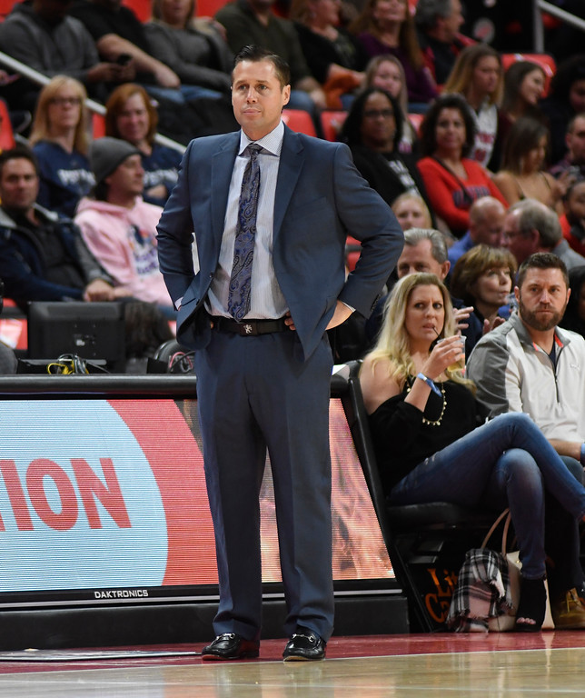 . Sacramento Kings head coach David Joerger watches his team play against the Detroit Pistons during the first quarter, Saturday, Nov. 4, 2017 in Detroit.  (Special to The Oakland Press/Jose Juarez)