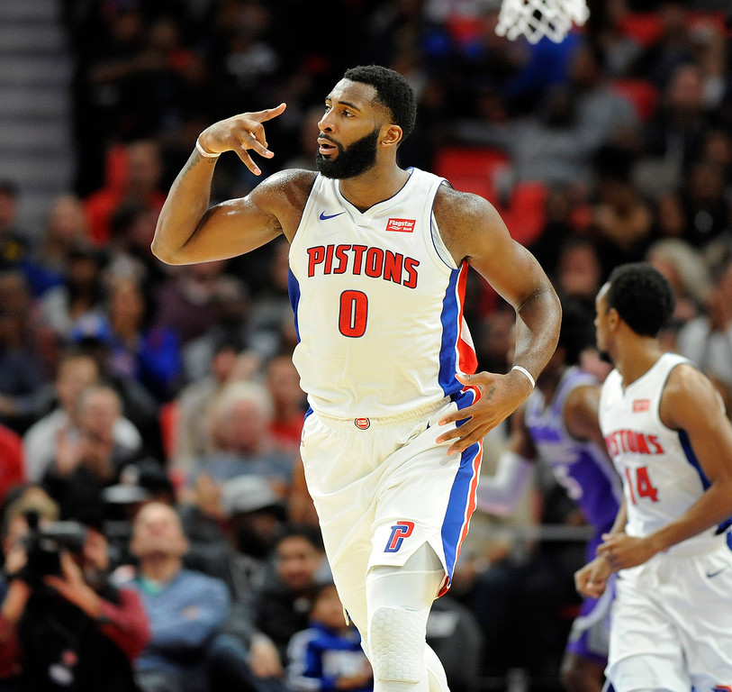 . Detroit Pistons center Andre Drummond (0) celebrates after making a basket against the Sacramento Kings in the third quarter, Saturday, Nov. 4, 2017 in Detroit.  The Pistons defeated the Kings 108-99.  (Special to The Oakland Press/Jose Juarez)