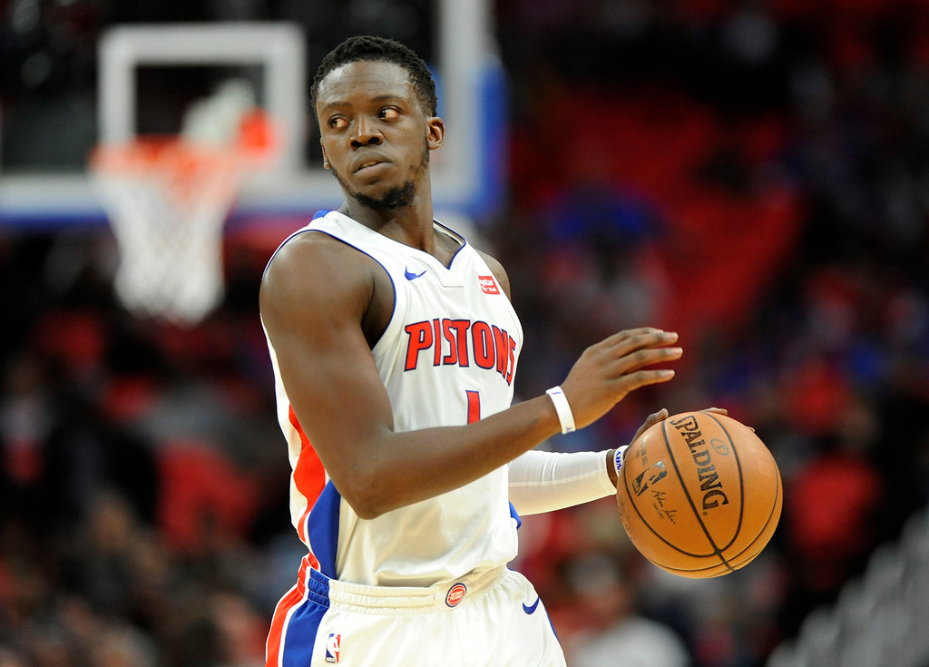 . Detroit Pistons guard Reggie Jackson (1) looks to pass against the Sacramento Kings during the first quarter, Saturday, Nov. 4, 2017 in Detroit.  (Special to The Oakland Press/Jose Juarez)