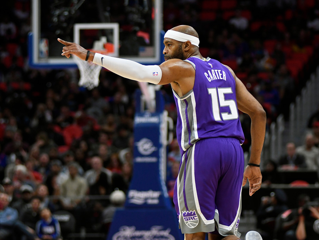 . Sacramento Kings guard Vince Carter (15) reacts after making a three-point shot against the Detroit Pistons in the fourth quarter, Saturday, Nov. 4, 2017 in Detroit.  The Pistons defeated the Kings 108-99.  (Special to The Oakland Press/Jose Juarez)