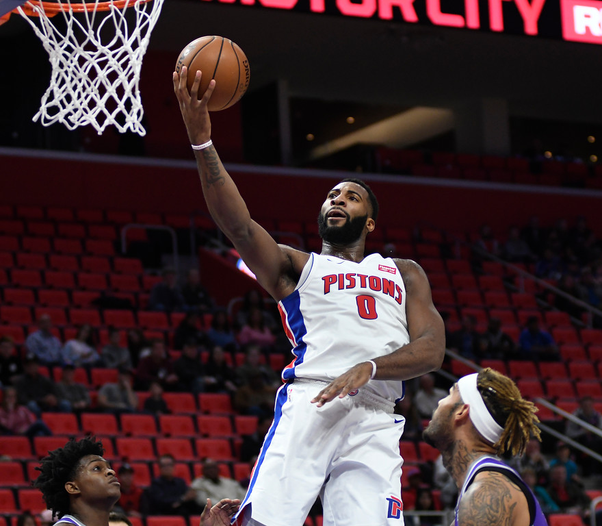 . Detroit Pistons center Andre Drummond (0) goes in for a layup against the Sacramento Kings during the first quarter, Saturday, Nov. 4, 2017 in Detroit.  (Special to The Oakland Press/Jose Juarez)