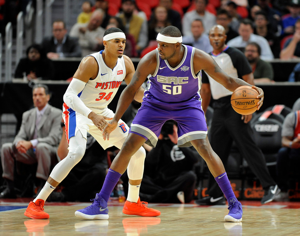 . Sacramento Kings center Zach Randolph (50) looks to drive past Detroit Pistons forward Tobias Harris (34) during the first quarter, Saturday, Nov. 4, 2017 in Detroit.  (Special to The Oakland Press/Jose Juarez)