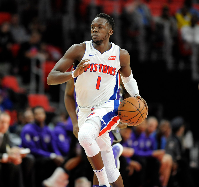 . Detroit Pistons guard Reggie Jackson (1) takes the basket upcourt against the Sacramento Kings during the first quarter, Saturday, Nov. 4, 2017 in Detroit.  (Special to The Oakland Press/Jose Juarez)