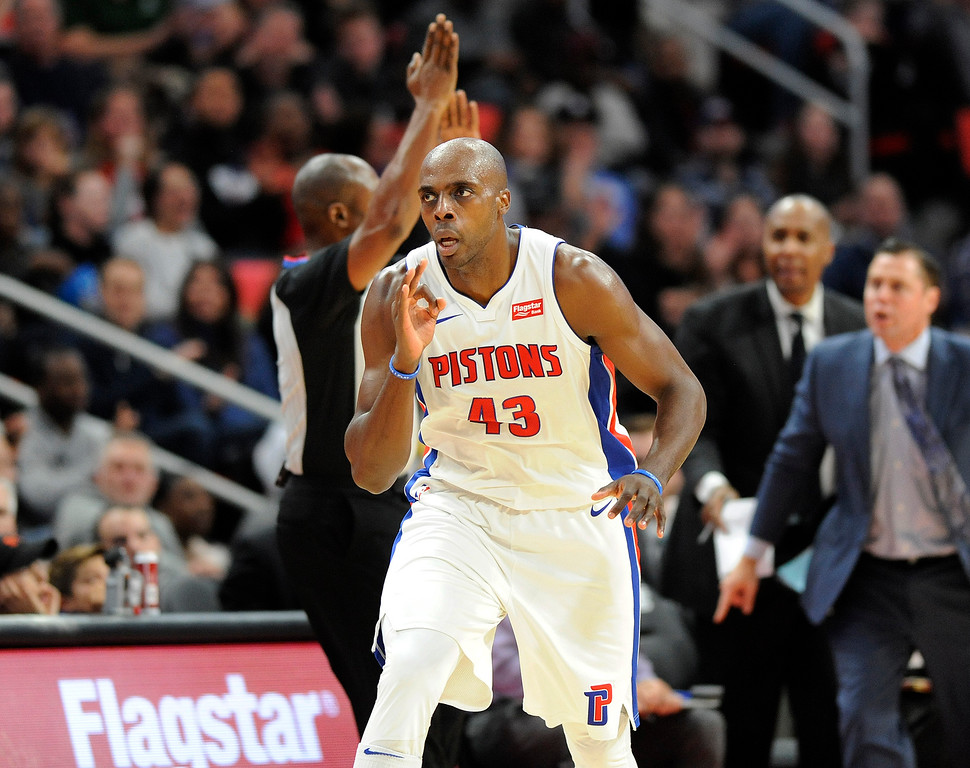 . Detroit Pistons forward Anthony Tolliver (43) reacts after making a three-point shot against Sacramento Kings in the fourth quarter, Saturday, Nov. 4, 2017 in Detroit.  The Pistons defeated the Kings 108-99.  (Special to The Oakland Press/Jose Juarez)