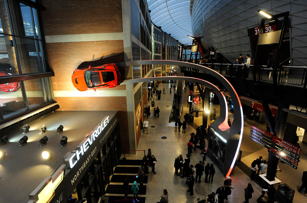 . The Chevrolet entrance to Little Caesars Arena is seen from the second floor.  Photo taken on Saturday, Nov. 4, 2017 in Detroit.  (Special to The Oakland Press/Jose Juarez)