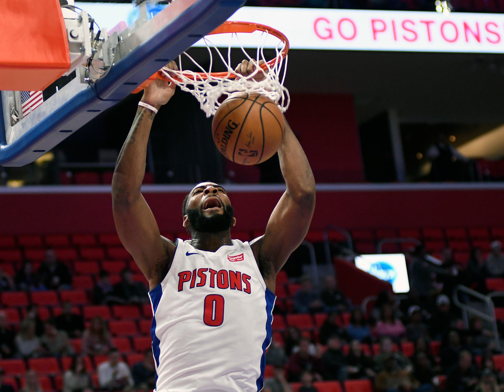 . Detroit Pistons center Andre Drummond (0) dunks against the Sacramento Kings during the first quarter, Saturday, Nov. 4, 2017 in Detroit.  (Special to The Oakland Press/Jose Juarez)