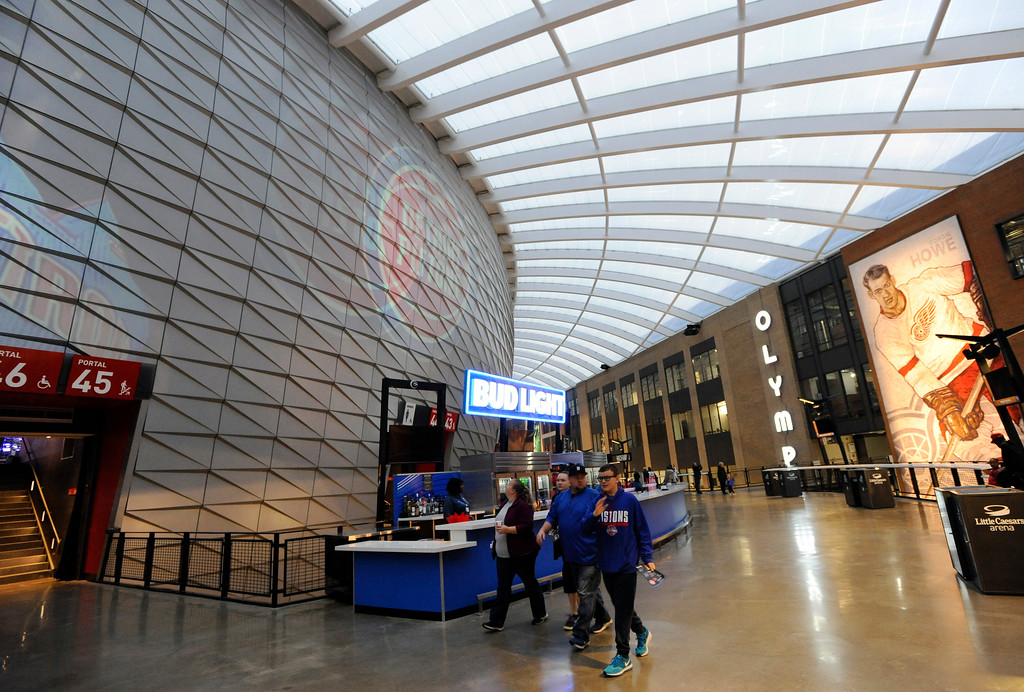. Second floor concourse area of Little Caesars Arena.  Photo taken on Saturday, Nov. 4, 2017 in Detroit.  (Special to The Oakland Press/Jose Juarez)