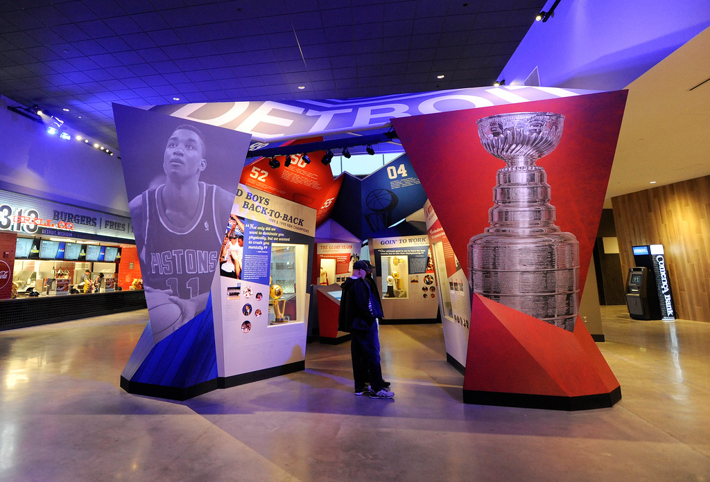 . Interactive fan display gives the public information on both the Detroit Pistons and Detroit Red Wings at Little Caesars Arena.  Photo taken on Saturday, Nov. 4, 2017 in Detroit.  (Special to The Oakland Press/Jose Juarez)