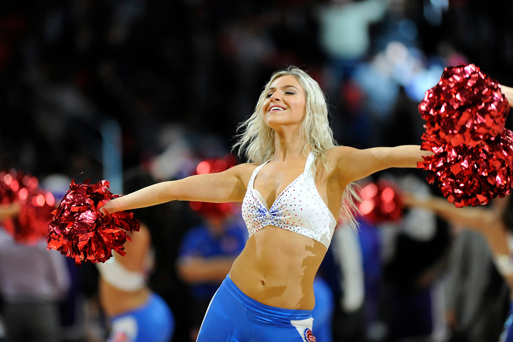 . The Detroit Pistons Dance team entertains the crowd during a timeout against the Sacramento Kings in the fourth quarter, Saturday, Nov. 4, 2017 in Detroit.  The Pistons defeated the Kings 108-99.  (Special to The Oakland Press/Jose Juarez)