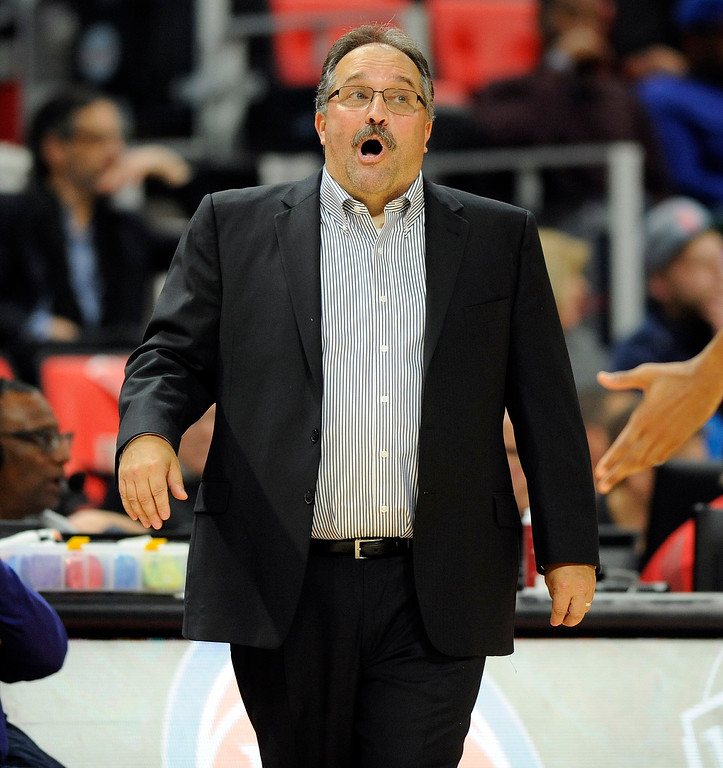 . Detroit Pistons head coach Stan Van Gundy disagrees with a referee who called a foul on his team as they played against the Sacramento Kings in the fourth quarter, Saturday, Nov. 4, 2017 in Detroit.  The Pistons defeated the Kings 108-99.  (Special to The Oakland Press/Jose Juarez)