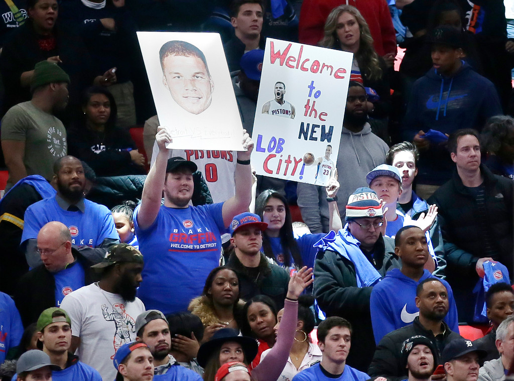 . Fans support Detroit Pistons forward Blake Griffin during the second half of the team\'s NBA basketball game against the Memphis Grizzlies on Thursday, Feb. 1, 2018, in Detroit. Griffen led the Pistons with 24 points in a 104-102 win over the Grizzlies. (AP Photo/Duane Burleson)