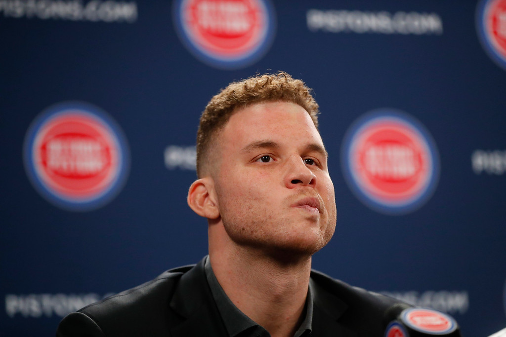 . Detroit Pistons\' Blake Griffin listens to a question while talking about his trade to a new NBA basketball team with the media in Auburn Hills, Mich., Wednesday, Jan. 31, 2018. (AP Photo/Paul Sancya)