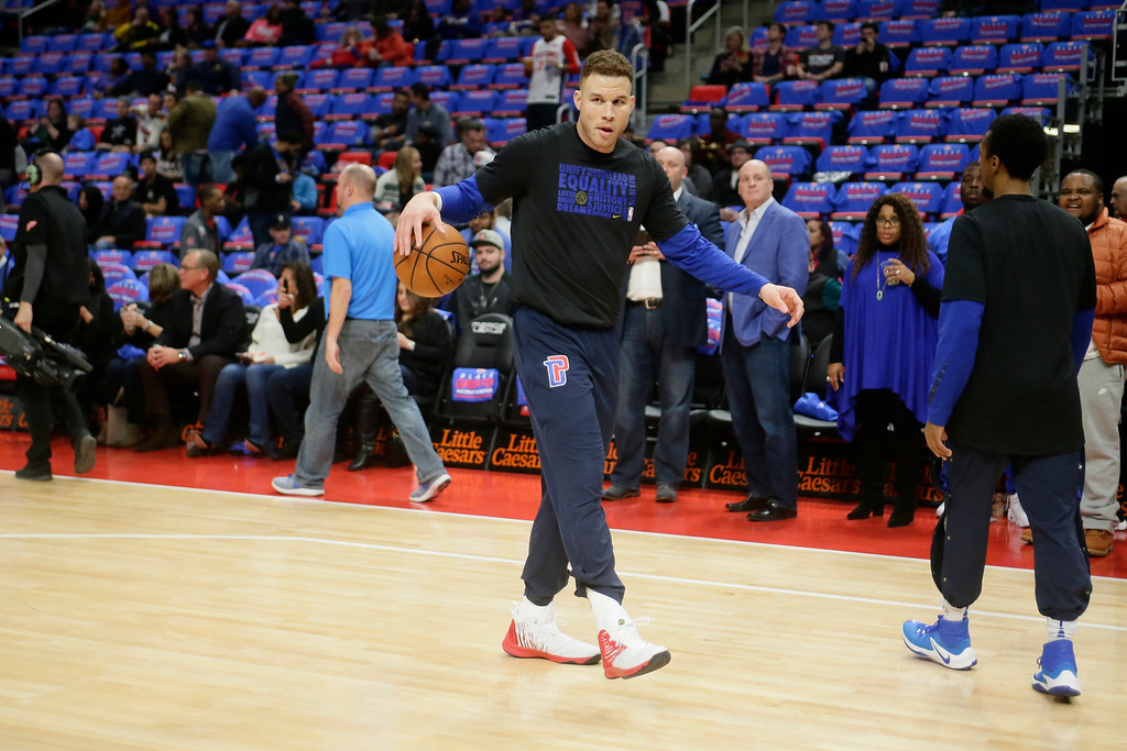 . Detroit Pistons forward Blake Griffin warms up for an NBA basketball game against the Memphis Grizzlies Thursday, Feb. 1, 2018, in Detroit. (AP Photo/Duane Burleson)