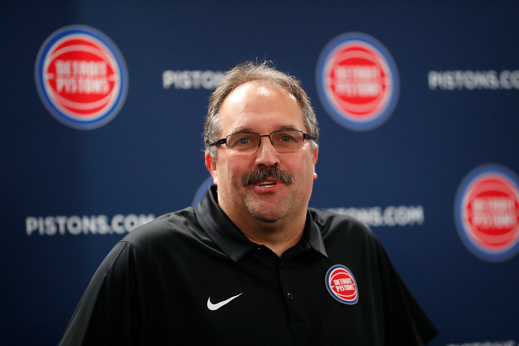 . Detroit Pistons President and Head Coach Stan Van Gundy smiles while introducing Blake Griffin as a part of his NBA basketball team in Auburn Hills, Mich., Wednesday, Jan. 31, 2018. (AP Photo/Paul Sancya)
