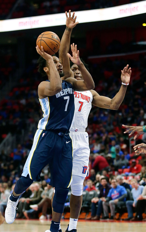. Memphis Grizzlies guard Wayne Selden, left, shoots against Detroit Pistons forward Stanley Johnson, right, during the second half of an NBA basketball game Thursday, Feb. 1, 2018, in Detroit. The Pistons defeated the Grizzlies 104-102. (AP Photo/Duane Burleson)