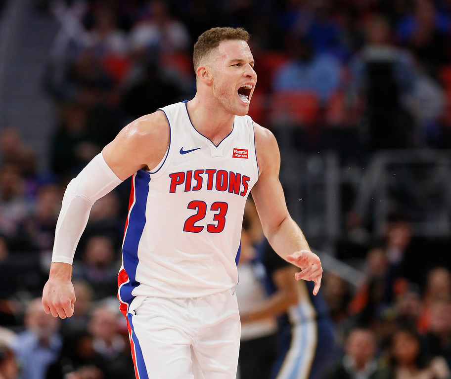 . Detroit Pistons forward Blake Griffin (23) shouts to a teammate during the second half of an NBA basketball game against the Memphis Grizzlies Thursday, Feb. 1, 2018, in Detroit. The Pistons defeated the Grizzlies 104-102. (AP Photo/Duane Burleson)
