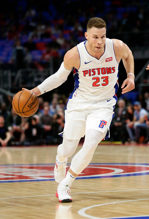 . Detroit Pistons forward Blake Griffin (23) drives to the basket against the Memphis Grizzlies during the first half of an NBA basketball game Thursday, Feb. 1, 2018, in Detroit. (AP Photo/Duane Burleson)
