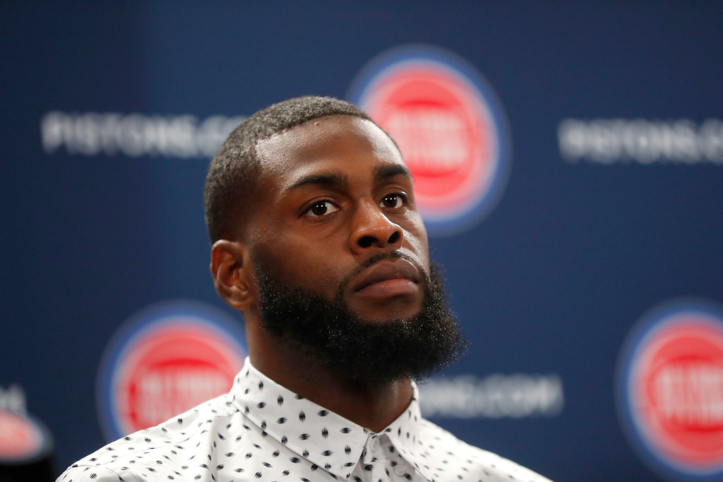 . Detroit Pistons\' Willie Reed listens to a question from the media about joining a new NBA basketball team in Auburn Hills, Mich., Wednesday, Jan. 31, 2018. (AP Photo/Paul Sancya)