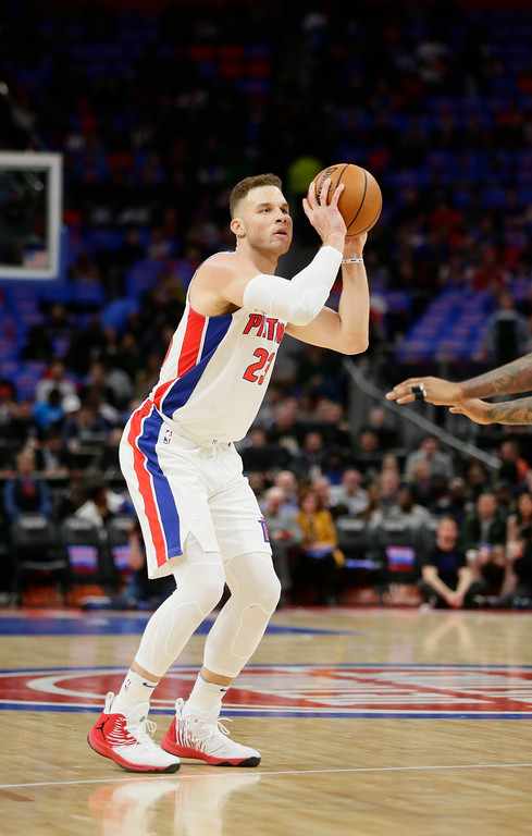 . Detroit Pistons forward Blake Griffin (23) takes a shot against the Memphis Grizzlies during the first half of an NBA basketball game Thursday, Feb. 1, 2018, in Detroit. (AP Photo/Duane Burleson)
