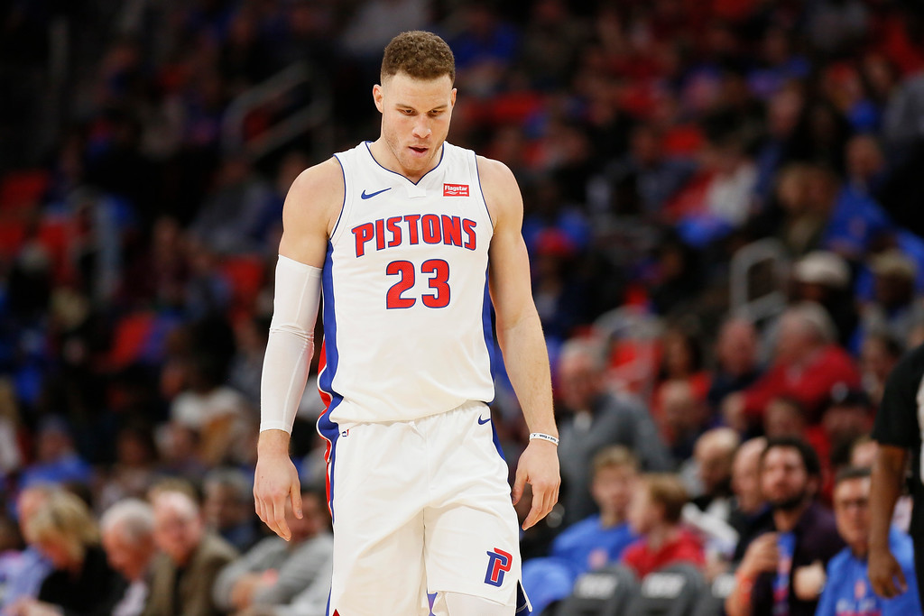 . Detroit Pistons forward Blake Griffin (23) during the second half of an NBA basketball game against the Memphis Grizzlies Thursday, Feb. 1, 2018, in Detroit. The Pistons defeated the Grizzlies 104-102. (AP Photo/Duane Burleson)