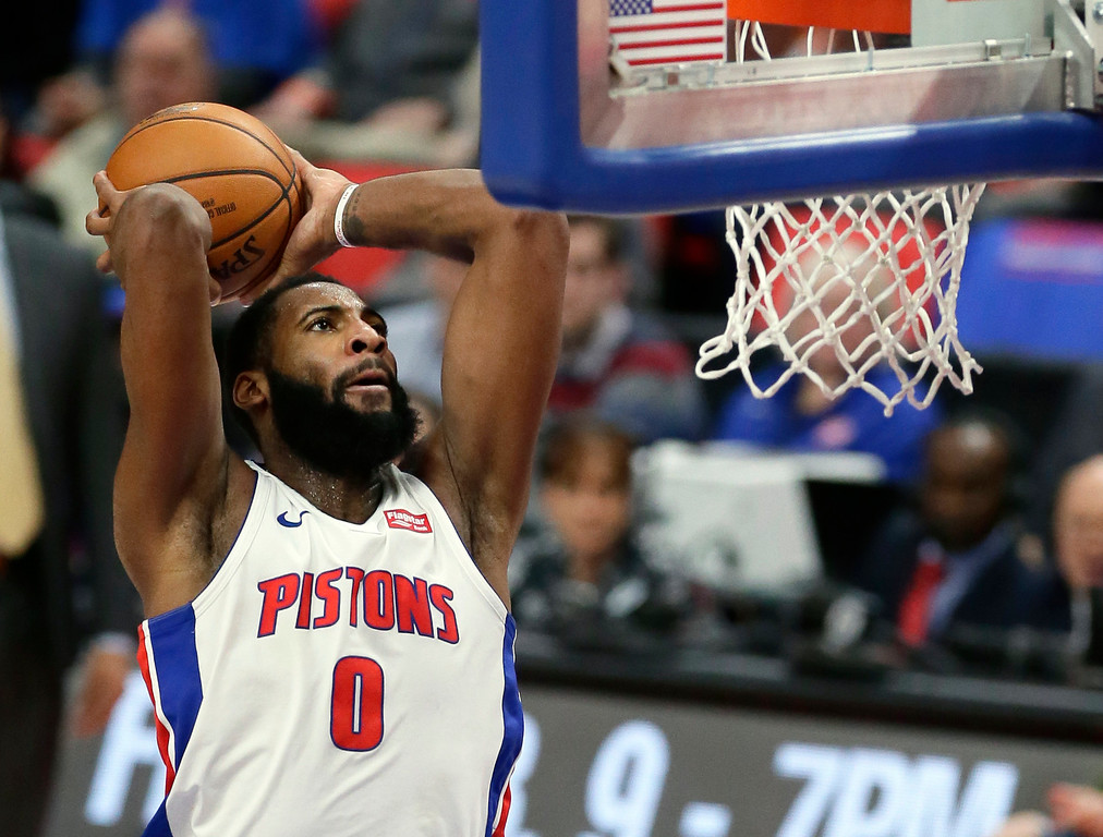 . Detroit Pistons center Andre Drummond goes up to dunk against the Memphis Grizzlies during the fourth quarter of an NBA basketball game Thursday, Feb. 1, 2018, in Detroit. The Pistons won 104-102. (AP Photo/Duane Burleson)