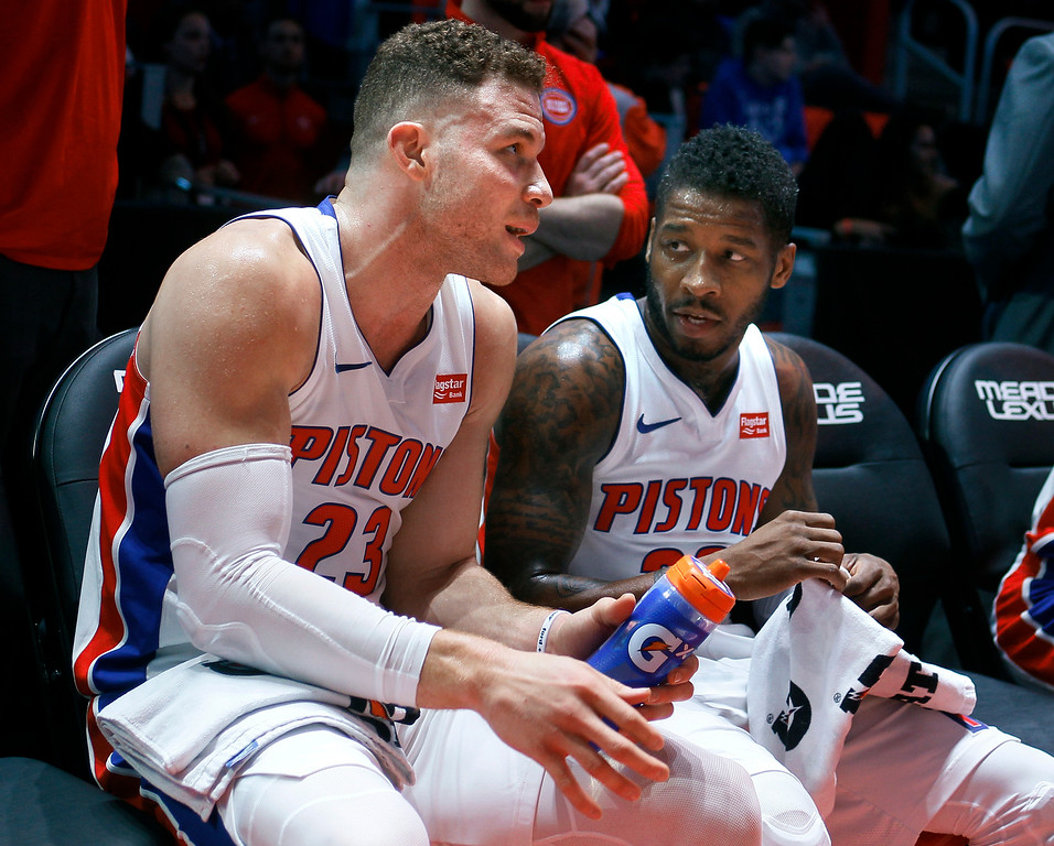 . Detroit Pistons forward Blake Griffin (23) talks with guard Dwight Buycks, right, during the second half of the team\'s NBA basketball game against the Memphis Grizzlies on Thursday, Feb. 1, 2018, in Detroit. The Pistons won 104-102. (AP Photo/Duane Burleson)