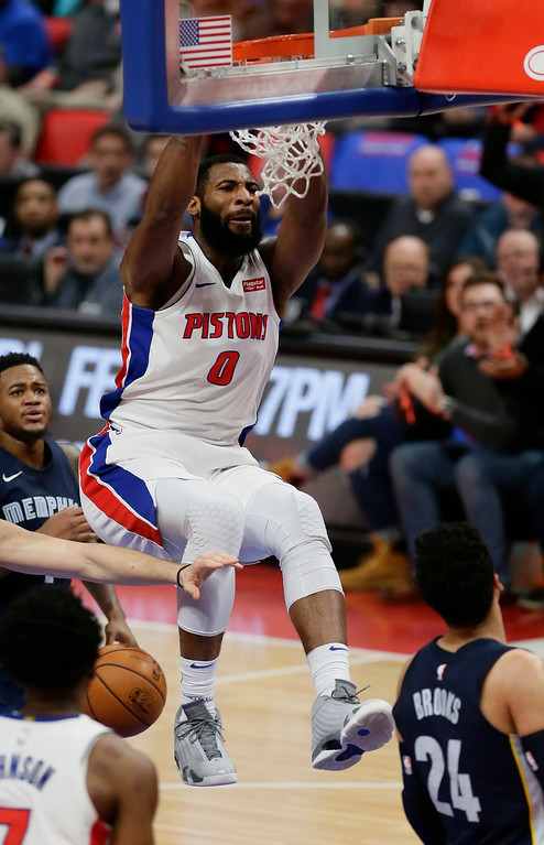 . Detroit Pistons center Andre Drummond (0) dunks against the Memphis Grizzlies during the second half of an NBA basketball game Thursday, Feb. 1, 2018, in Detroit. The Pistons defeated the Grizzlies 104-102. (AP Photo/Duane Burleson)