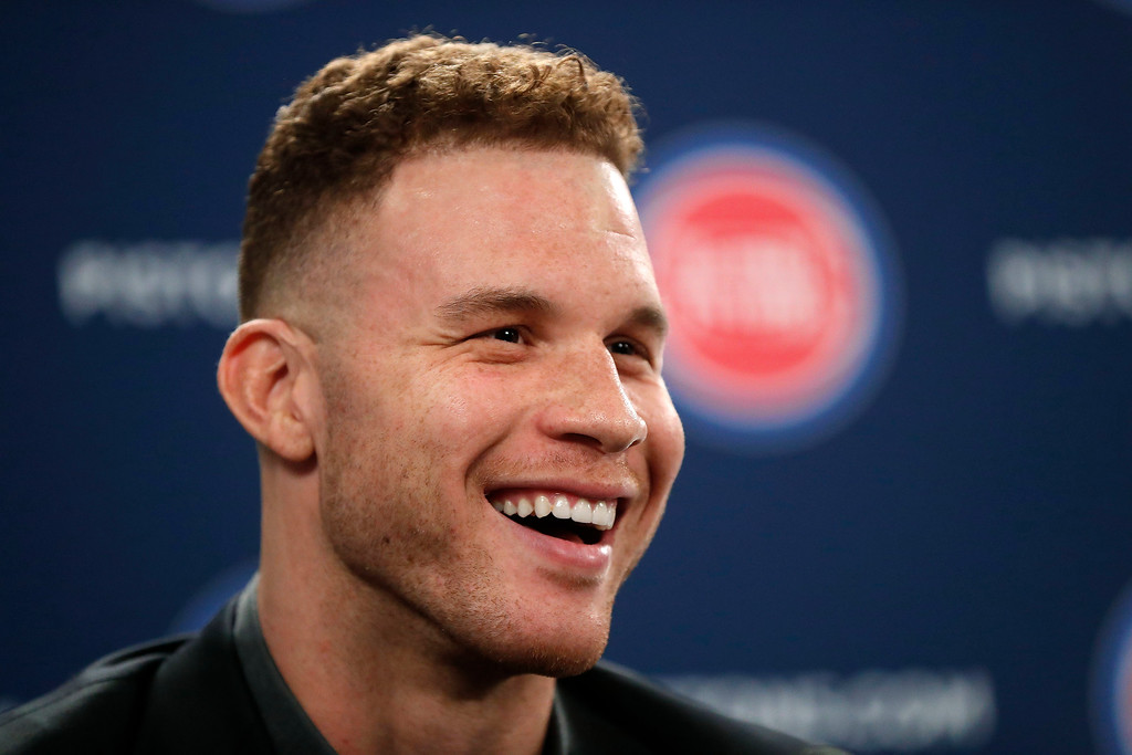 . Detroit Pistons\' Blake Griffin smiles while talking about his trade from the Los Angeles Clippers to the Pistons during an NBA baseball news conference in Auburn Hills, Mich., Wednesday, Jan. 31, 2018. (AP Photo/Paul Sancya)