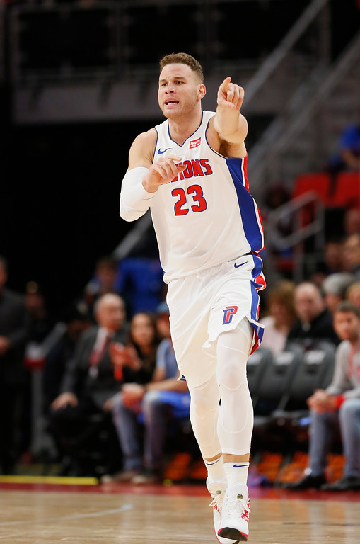. Detroit Pistons forward Blake Griffin (23) directs a teammate after scoring against the Memphis Grizzlies during the second half of an NBA basketball game Thursday, Feb. 1, 2018, in Detroit. The Pistons defeated the Grizzlies 104-102. (AP Photo/Duane Burleson)
