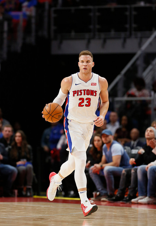 . Detroit Pistons forward Blake Griffin (23) brings the ball up court against the Memphis Grizzlies during the first half of an NBA basketball game Thursday, Feb. 1, 2018, in Detroit. (AP Photo/Duane Burleson)
