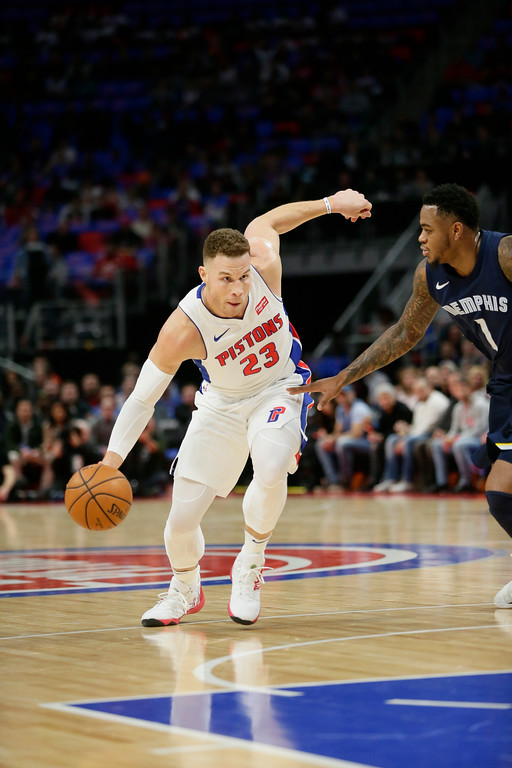 . Detroit Pistons forward Blake Griffin (23) drives against Memphis Grizzlies forward Jarell Martin (1) during the first half of an NBA basketball game Thursday, Feb. 1, 2018, in Detroit. (AP Photo/Duane Burleson)