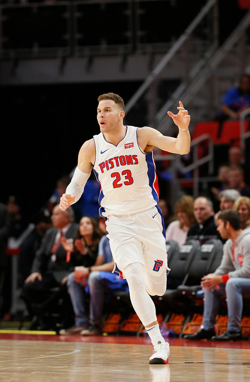 . Detroit Pistons forward Blake Griffin (23) reacts after scoring against the Memphis Grizzlies during the second half of an NBA basketball game Thursday, Feb. 1, 2018, in Detroit. The Pistons defeated the Grizzlies 104-102. (AP Photo/Duane Burleson)