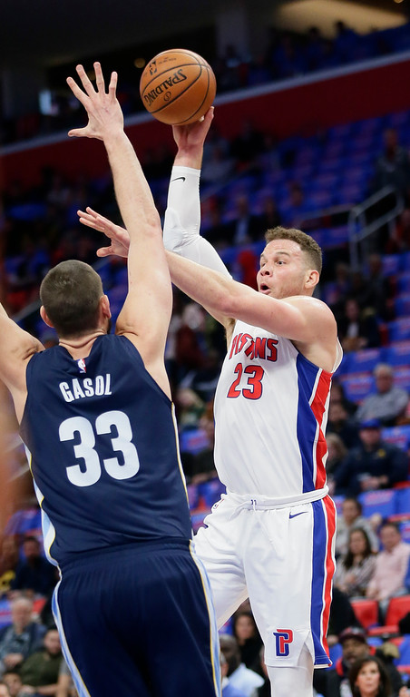 . Detroit Pistons forward Blake Griffin (23) takes a shot against Memphis Grizzlies center Marc Gasol (33) during the first half of an NBA basketball game Thursday, Feb. 1, 2018, in Detroit. (AP Photo/Duane Burleson)