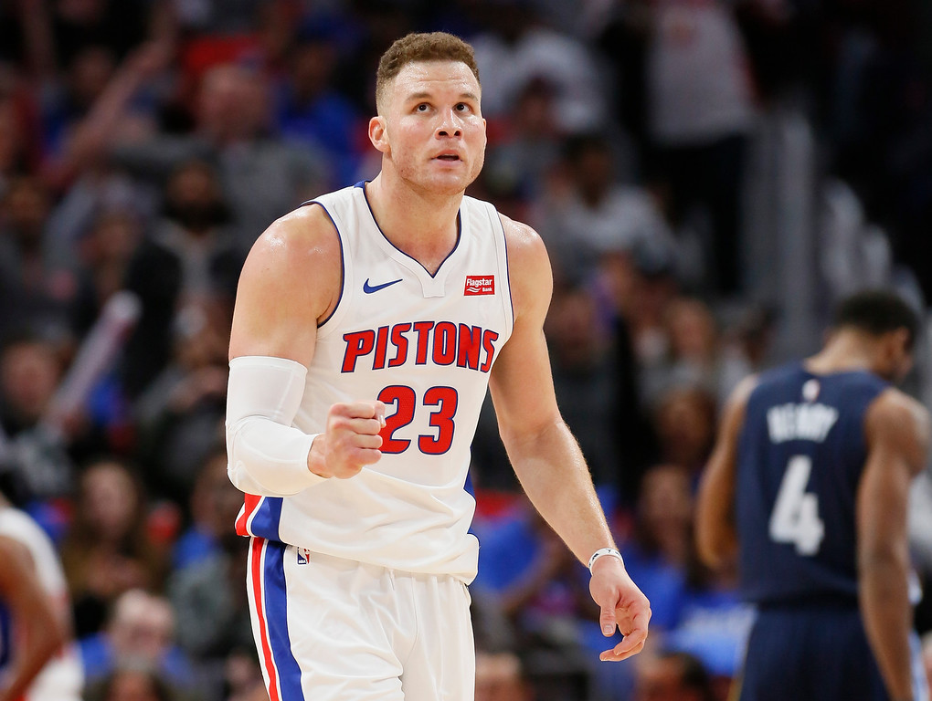 . Detroit Pistons forward Blake Griffin (23) pumps his fist after the Pistons scored against the Memphis Grizzlies during the second half of an NBA basketball game Thursday, Feb. 1, 2018, in Detroit. The Pistons defeated the Grizzlies 104-102. (AP Photo/Duane Burleson)