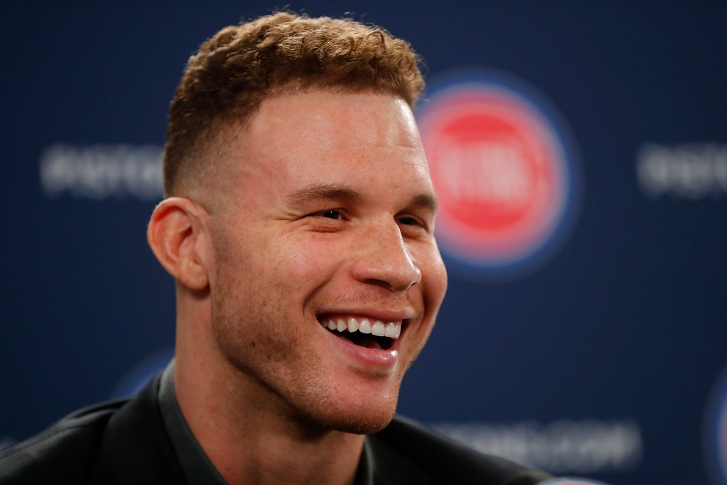. Detroit Pistons\' Blake Griffin smiles while talking about his trade to a new NBA basketball team with the media in Auburn Hills, Mich., Wednesday, Jan. 31, 2018. (AP Photo/Paul Sancya)