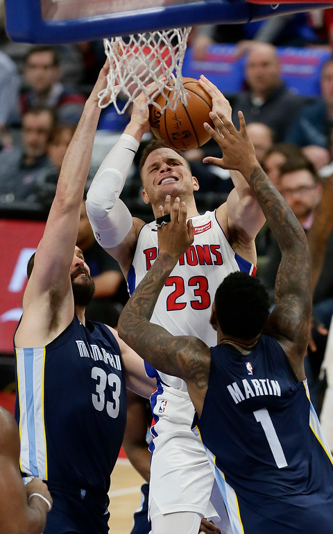 . Detroit Pistons forward Blake Griffin (23) goes to the basket against Memphis Grizzlies center Marc Gasol (33) and forward Jarell Martin (1) during the second half of an NBA basketball game Thursday, Feb. 1, 2018, in Detroit. Griffen led the Pistons with 24 points in a 104-102 win. (AP Photo/Duane Burleson)