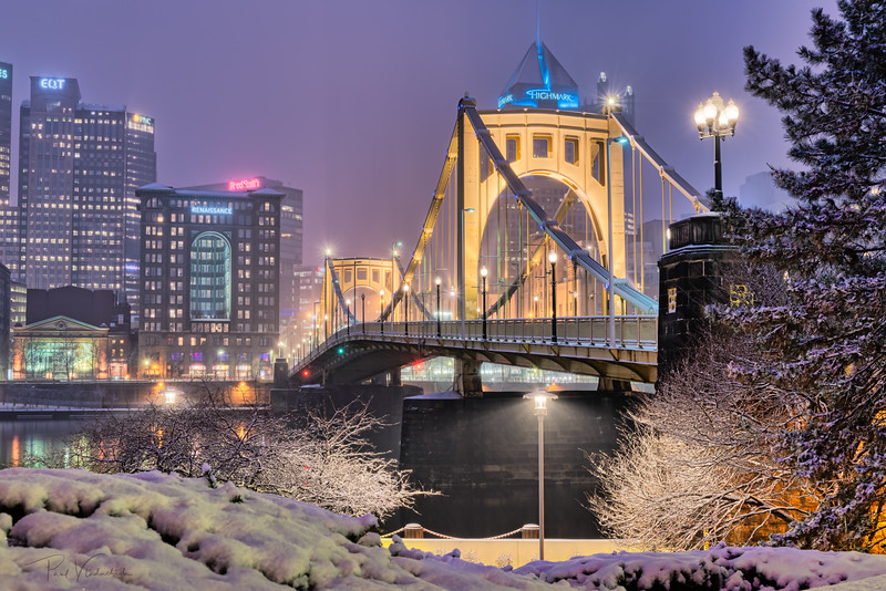 Roberto Clemente Bridge in Winter - Pittsburgh Pennsylvania