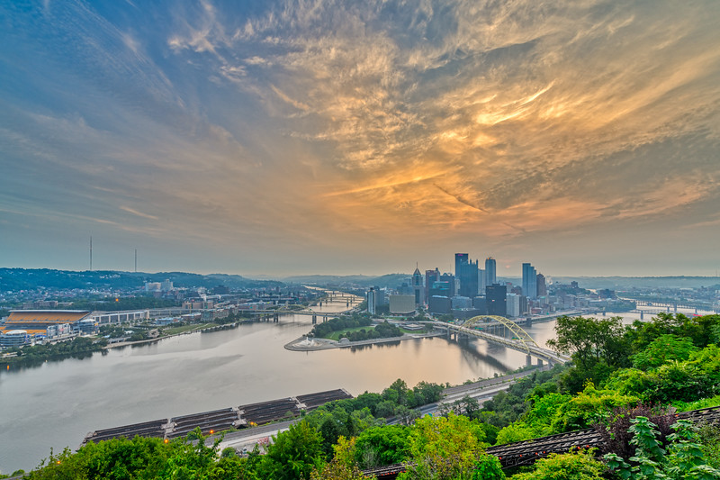 Pittsburgh and the West Coast Wildfire Haze at Dawn