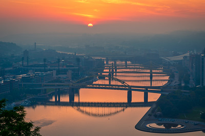 Sunrise and Fog over the Allegheny River - Pittsburgh Pennsylvania