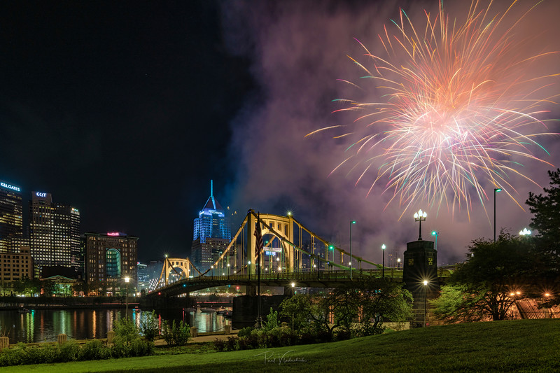 Roberto Clemente Bridge and Fireworks