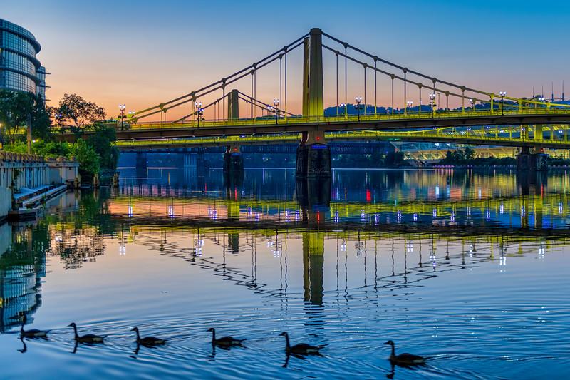 Andy Warhol Bridge Reflections at Dawn