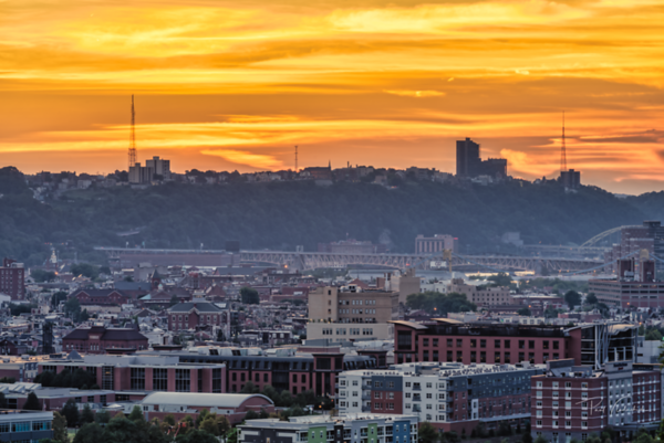 Sunset over the Southside - Pittsburgh Pennsylvania