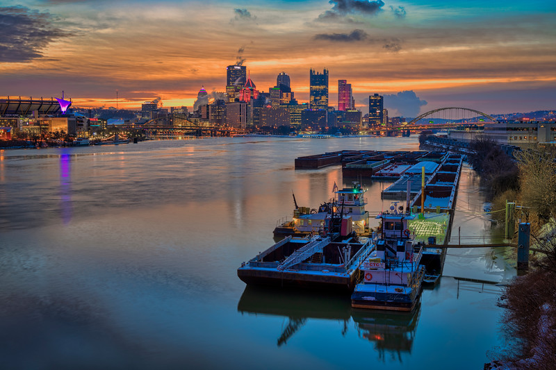 Sunrise on the Ohio River - Pittsburgh Pennsylvania