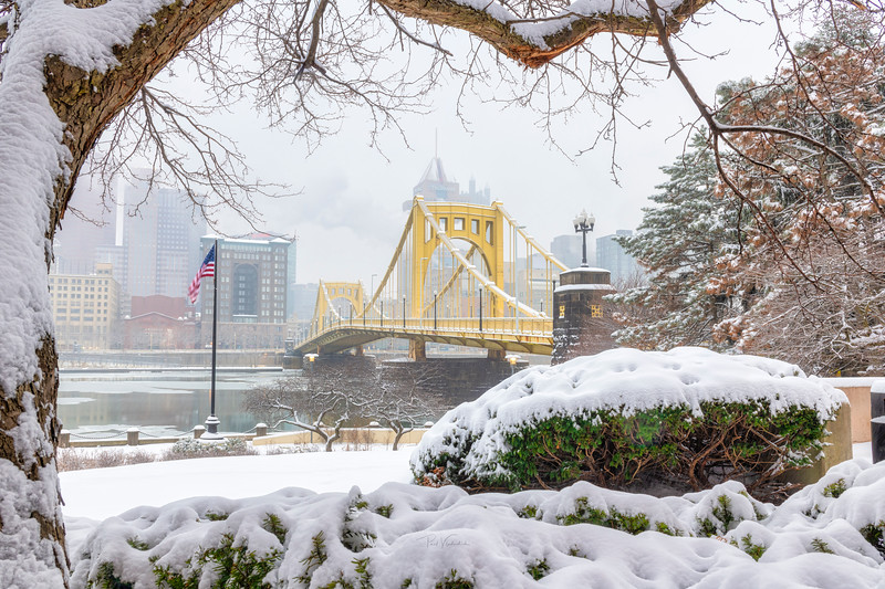Roberto Clemente Bridge in the Snow - Pittsburgh Pennsylvania