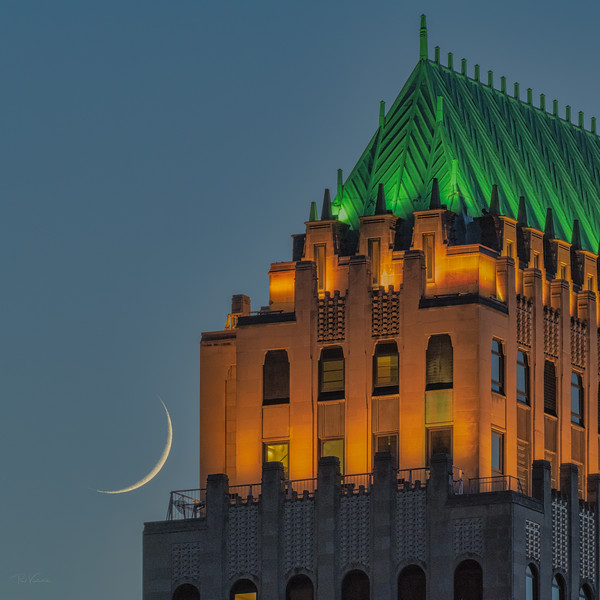 Sliver Moon Setting Behinds Koppers Building
