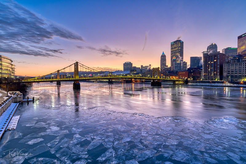 River Ice on the Allegheny River - Pittsburgh Pennsylvania